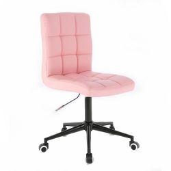 Kosmetická židle TOLEDO na černé podstavě s kolečky - růžová