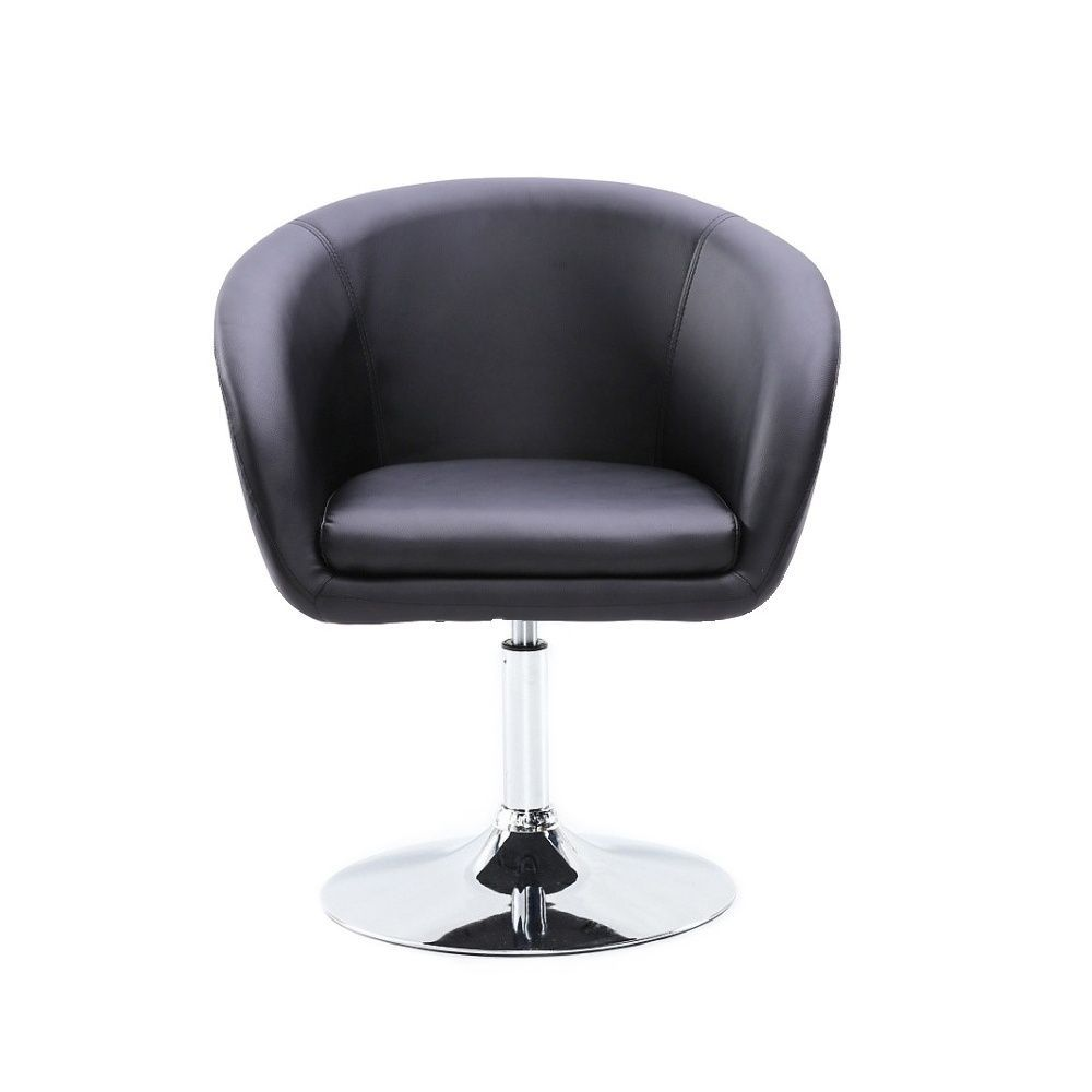 Kosmetická židle VENICE na stříbrné kulaté podstavě - černá