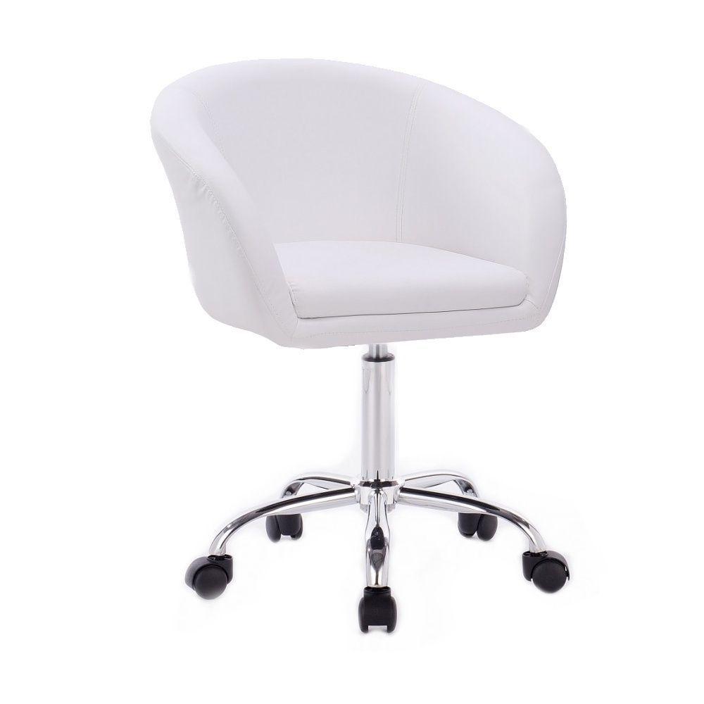 Kosmetická židle VENICE na stříbrné podstavě s kolečky - bílá