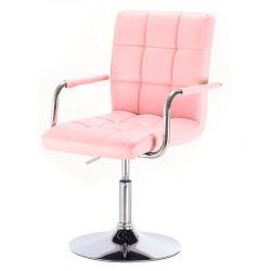 Kosmetická židle VERONA na kulaté podstavě růžová