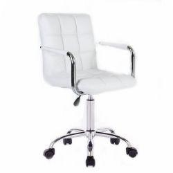 Kosmetická židle VERONA na stříbrné podstavě s kolečky - bílá