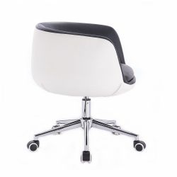 Kosmetická židle MONTANA na stříbrné podstavě s kolečky - černobílá