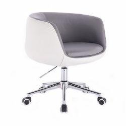 Kosmetická židle MONTANA na podstavě s kolečky šedobílá