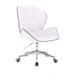 Kosmetická židle MILANO MAX na stříbrné podstavě s kolečky - bílá