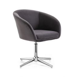 Kosmetická židle VENICE VELUR na stříbrném kříži - tmavě šedá