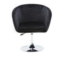 Kosmetická židle VENICE VELUR na stříbrném talíři - černá