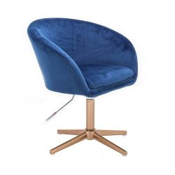 Kosmetická židle VENICE VELUR na zlatém kříži - modrá