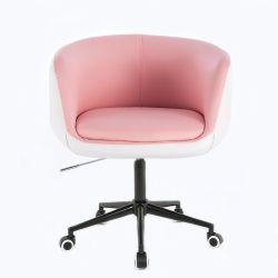 Kosmetické křeslo MONTANA na černé podstavě s kolečky - růžovobílé