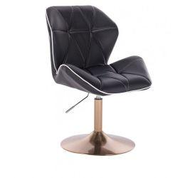 Kosmetická židle MILANO MAX na zlatém talíři - černá