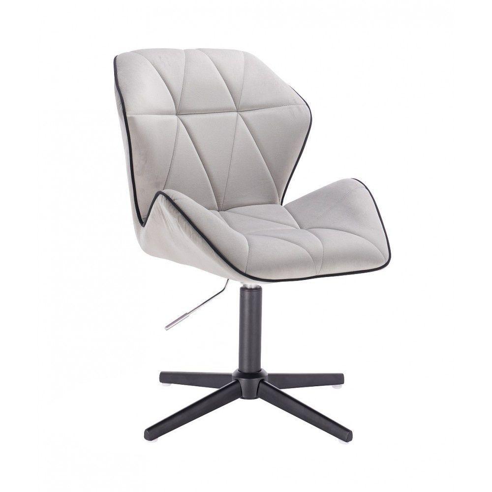 Kosmetická židle MILANO MAX VELUR na černém kříži - šedá