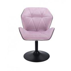 Kosmetická židle MILANO MAX VELUR na černém talíři - fialový vřes