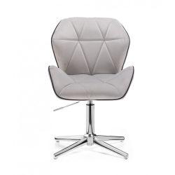Kosmetická židle MILANO MAX VELUR na stříbrném kříži - šedá