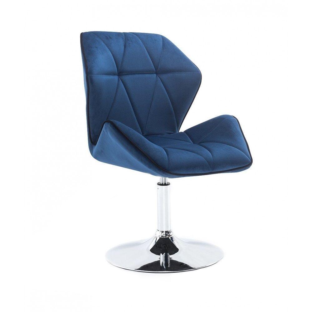 Kosmetická židle MILANO MAX VELUR na stříbrném talíři - modrá