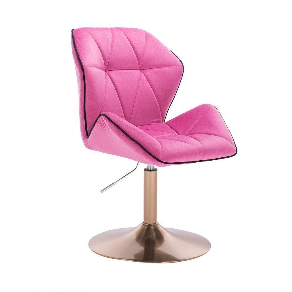 Kosmetická židle MILANO MAX VELUR na zlatém talíři - růžová