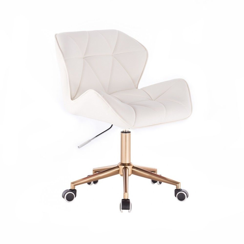 Kosmetická židle MILANO na zlaté podstavě s kolečky - bílá