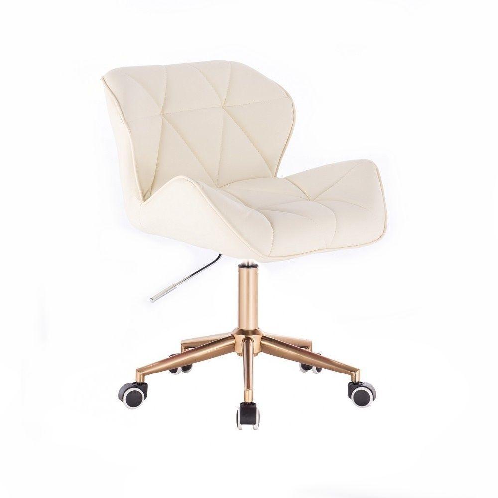 Kosmetická židle MILANO na zlaté podstavě s kolečky - krémová