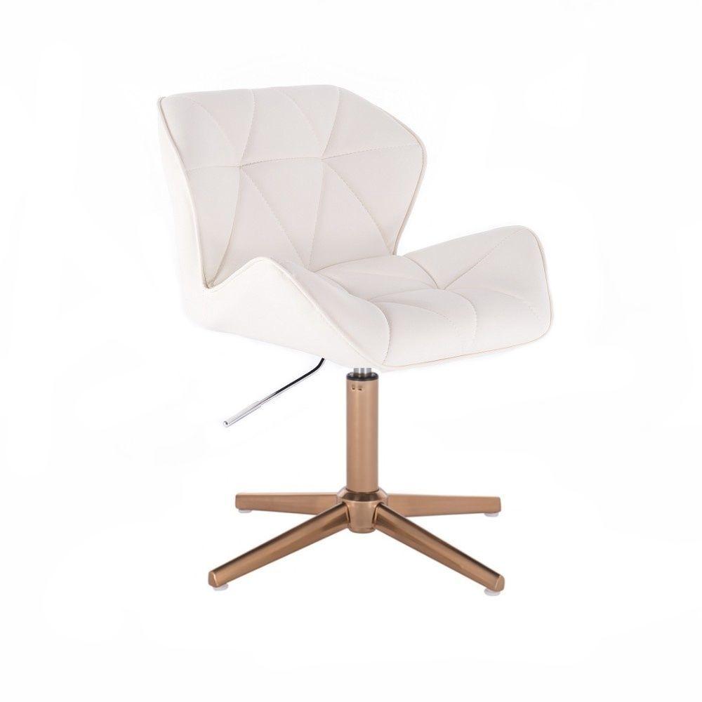 Kosmetická židle MILANO na zlatém kříží - bílá