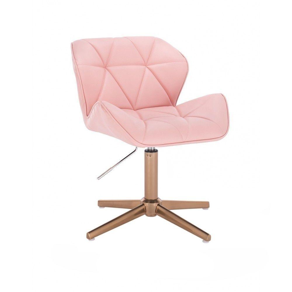Kosmetická židle MILANO na zlatém kříží - růžová