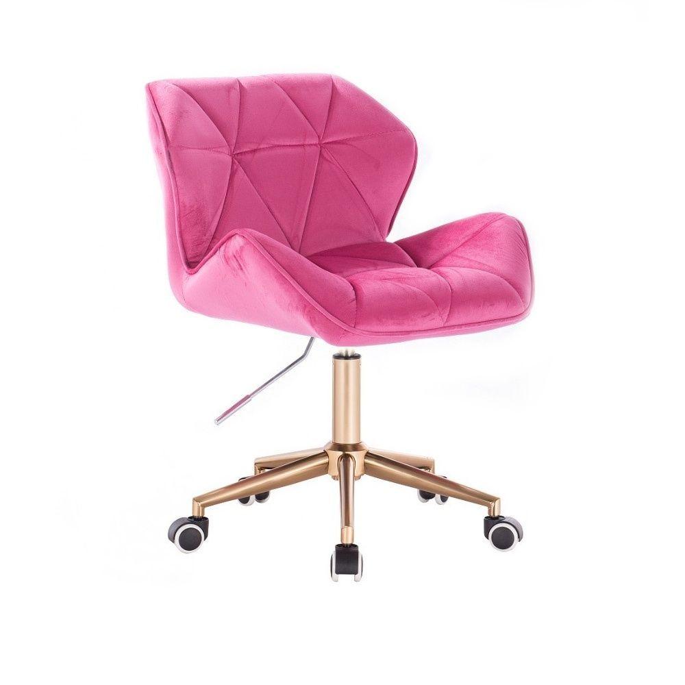 Kosmetická židle MILANO VELUR na zlaté podstavě s kolečky - růžová