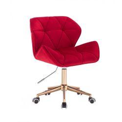 Kosmetická židle MILANO VELUR na zlaté podstavě s kolečky - červená
