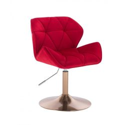 Kosmetická židle MILANO VELUR na zlatém talíři - červená