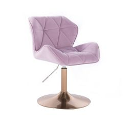 Kosmetická židle MILANO VELUR na zlatém talíři - fialový vřes