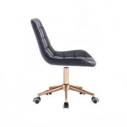 Kosmetická židle PARIS na zlaté podstavě s kolečky - černá