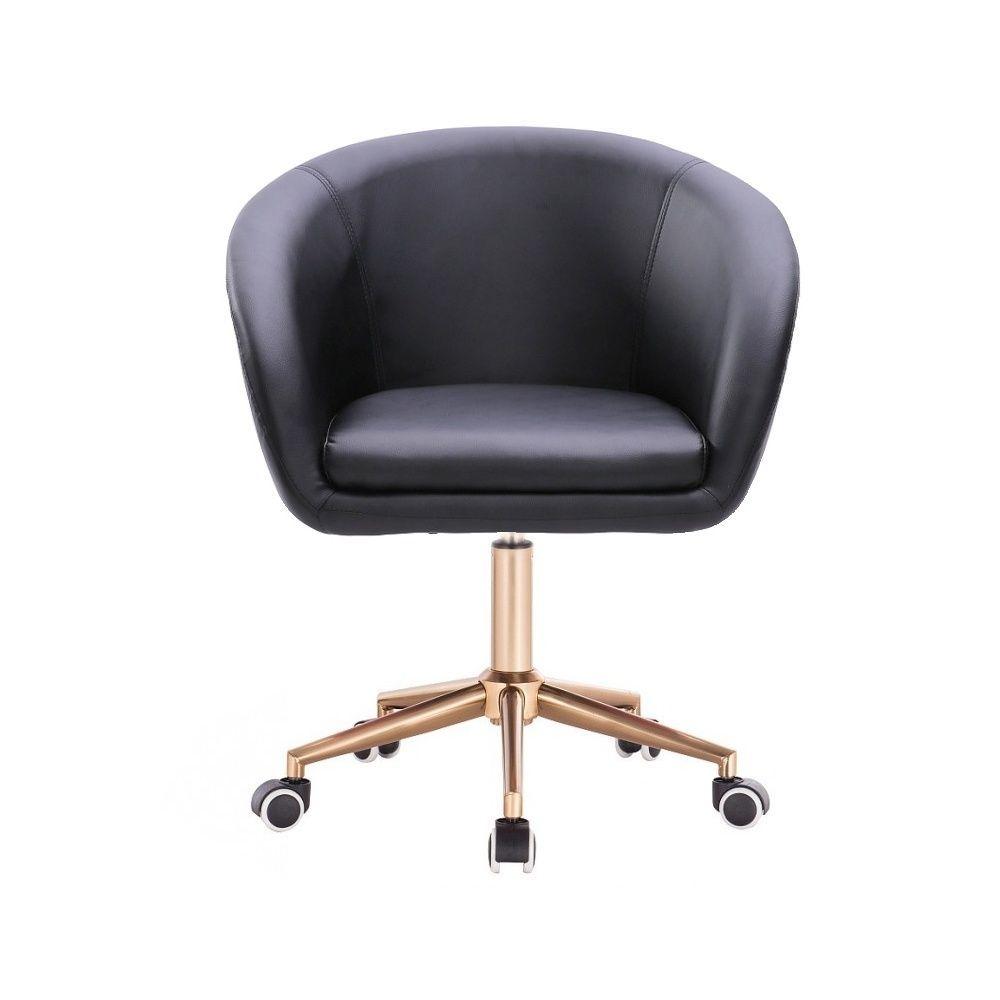 Kosmetická židle VENICE na zlaté podstavě s kolečky - černá