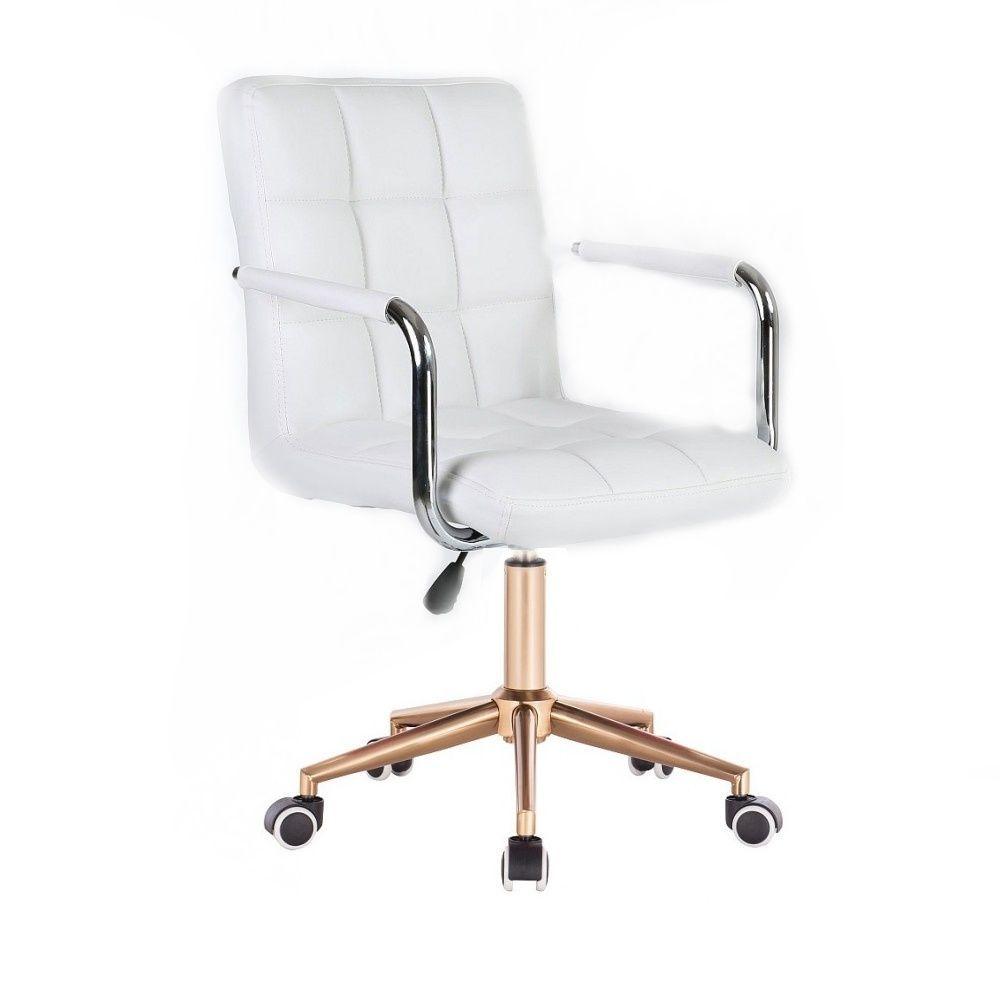 Kosmetická židle VERONA na zlaté podstavě s kolečky - bílá