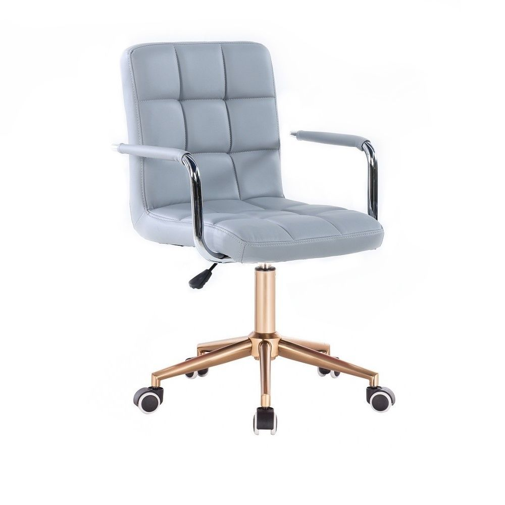 Kosmetická židle VERONA na zlaté podstavě s kolečky - šedá