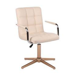Kosmetická židle VERONA na zlatém kříži - krémová