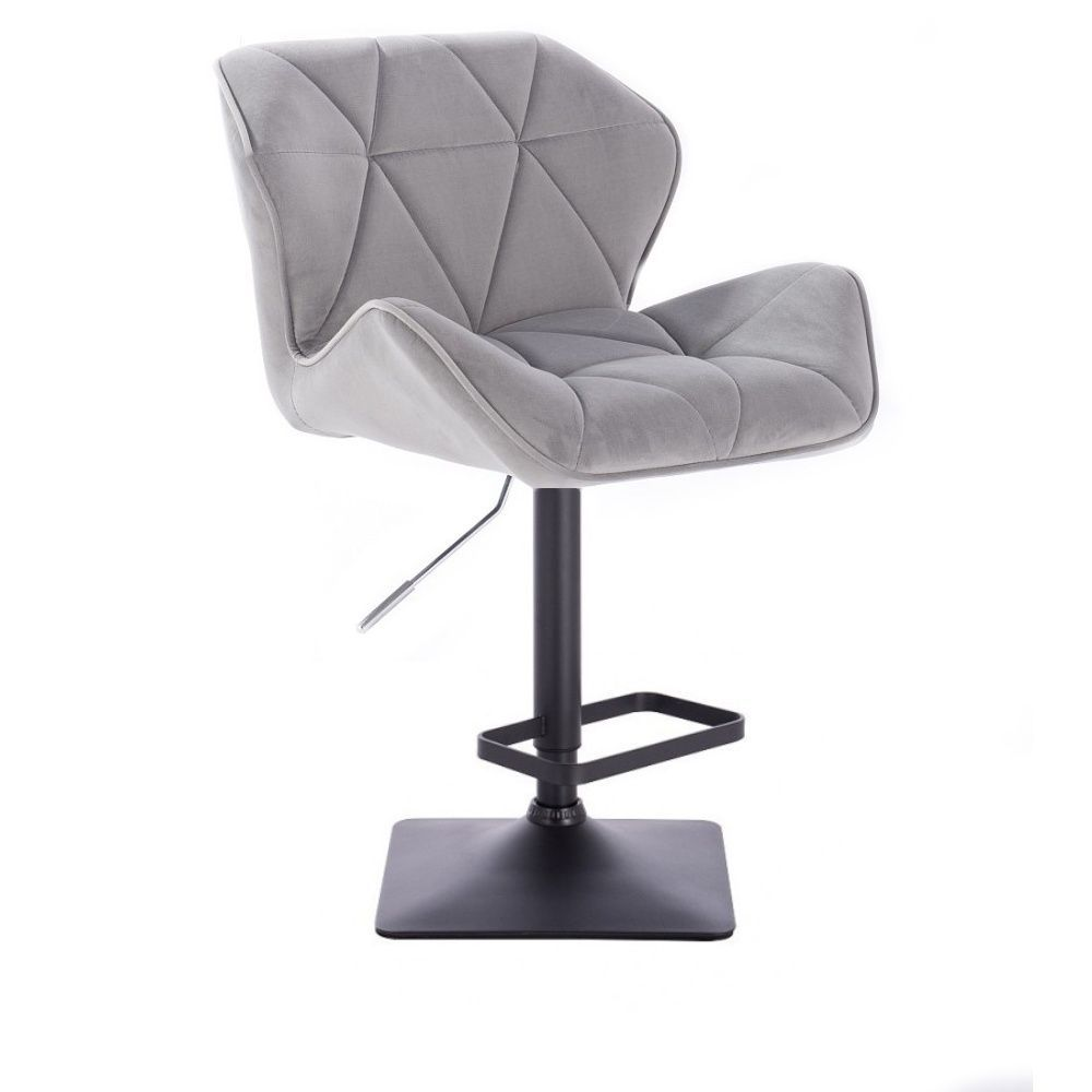 Barová židle MILANO VELUR na černé podstavě - světle šedá