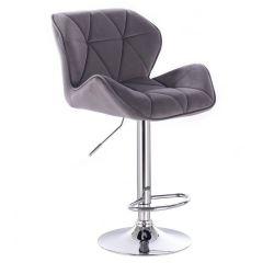 Barová židle MILANO VELUR na stříbrné kulaté podstavě - tmavě šedá