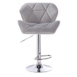 Barová židle MILANO VELUR na stříbrné kulaté podstavě - světle šedá