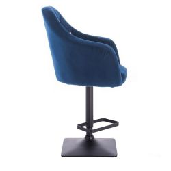 Barová židle ROMA VELUR na černé podstavě  - modrá