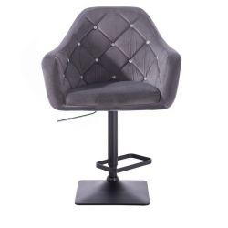 Barová židle ROMA VELUR na černé podstavě - tmavě šedá