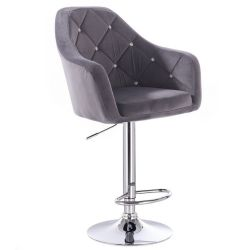 Barová židle ROMA VELUR na stříbrném talíři - tmavě šedá