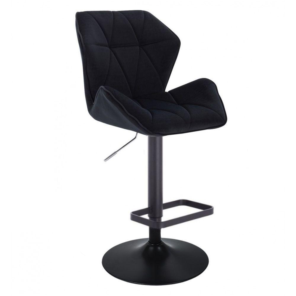 Barová židle MILANO MAX VELUR na černém talíři - černá