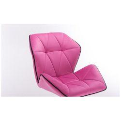 Barová židle MILANO MAX VELUR na černém talíři - růžová