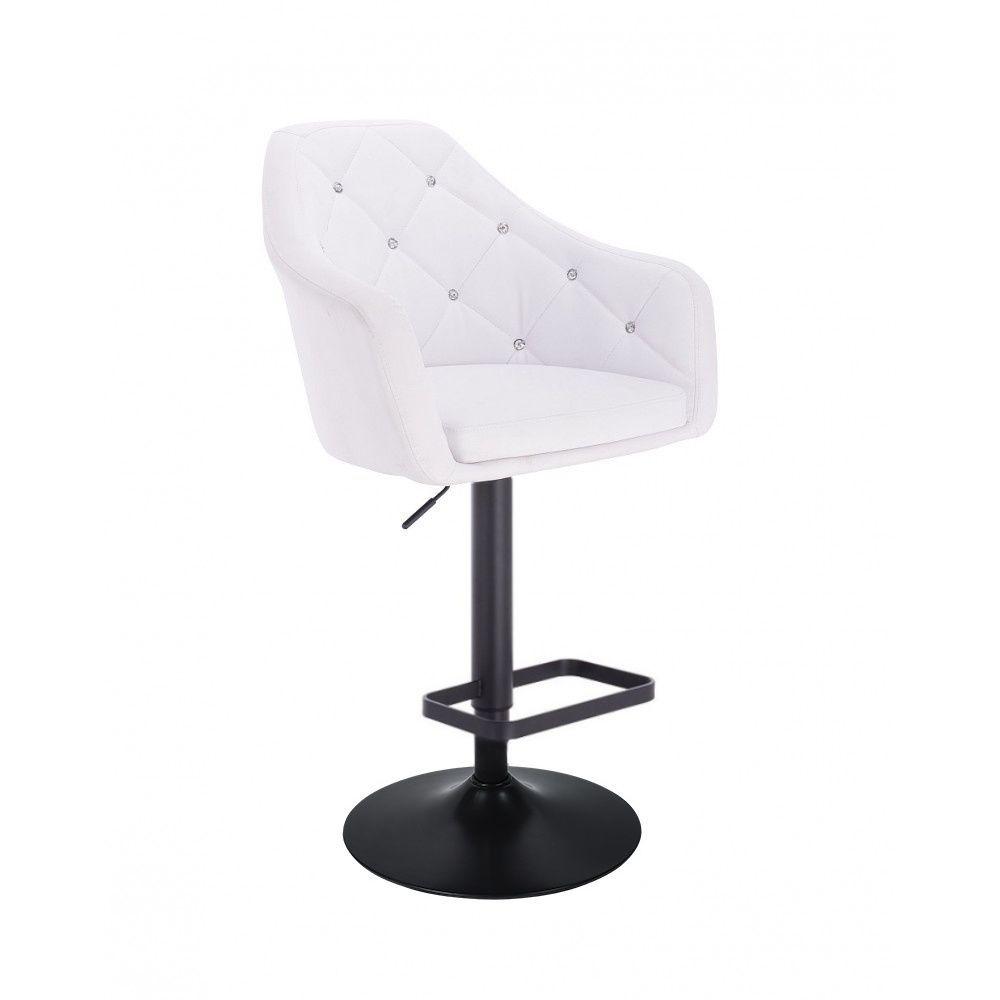 Barová židle ROMA na černém talíři - bílá