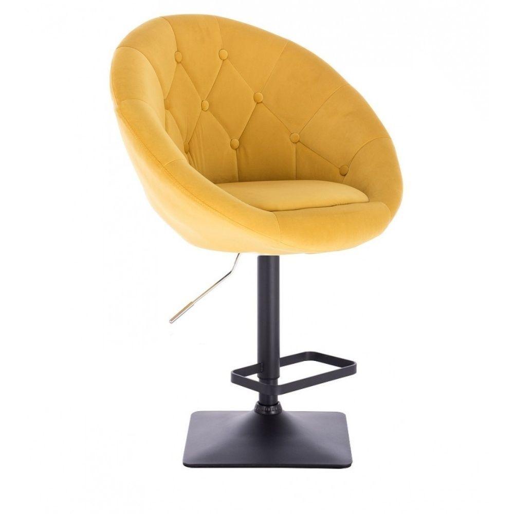 Barová židle VERA VELUR na černé podstavě - žlutá
