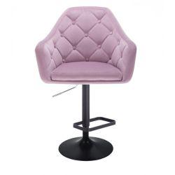 Barová židle ANDORA VELUR  na černém talíři - fialová