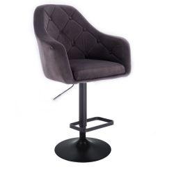 Barová židle ANDORA VELUR  na černém talíři - šedá