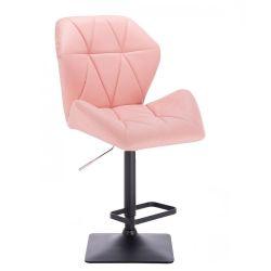 Barová židle MILANO MAX na černé podstavě - růžová