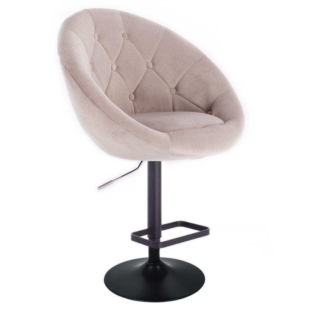 Barová židle VERA VELUR na černém talíři - béžová