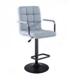 Barová židle VERONA na černém talíři - šedá