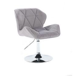 Kosmetická židle MILANO VELUR na stříbrném talíři - světle šedá