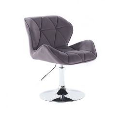 Kosmetická židle MILANO VELUR na stříbrném talíři - tmavě šedá