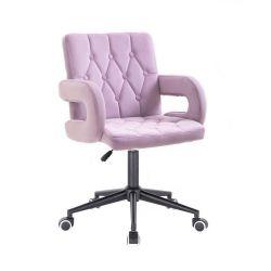 Kosmetická židle BOSTON VELUR na černé podstavě s kolečky - fialový vřes