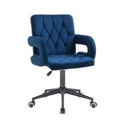 Kosmetická židle BOSTON VELUR na černé podstavě s kolečky - modrá